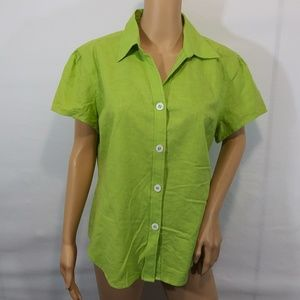 Bill Blass Linen Blouse Size Large